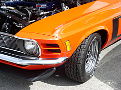 Photo of under hodd of classic muscle car