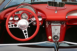 Photo of interior of classic muscle car
